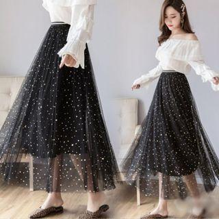 預購🍎星空亮片網紗半身裙兩件套 🍎大尺碼 星空 閃亮  網紗 4種顏色可以選 ♬胖胖小屋