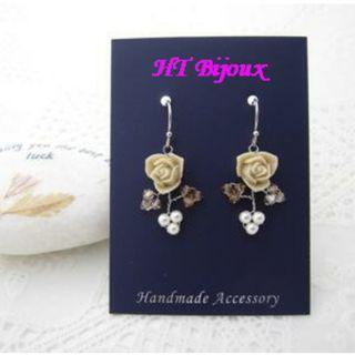 自家製手作米色玫瑰耳環 Handmade Beige Rose Earrings