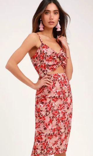 Victoria Mauve Pink Floral Print Tie-Front Cutout Dress