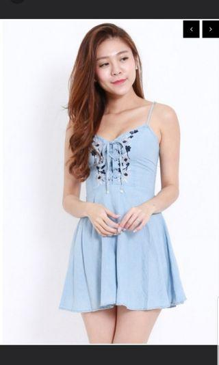 Denim Embroidered Lace Dress