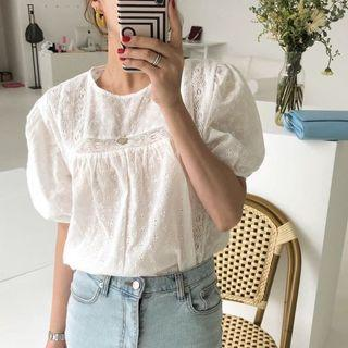 JEAN PUFF CROCHET BLOUSE