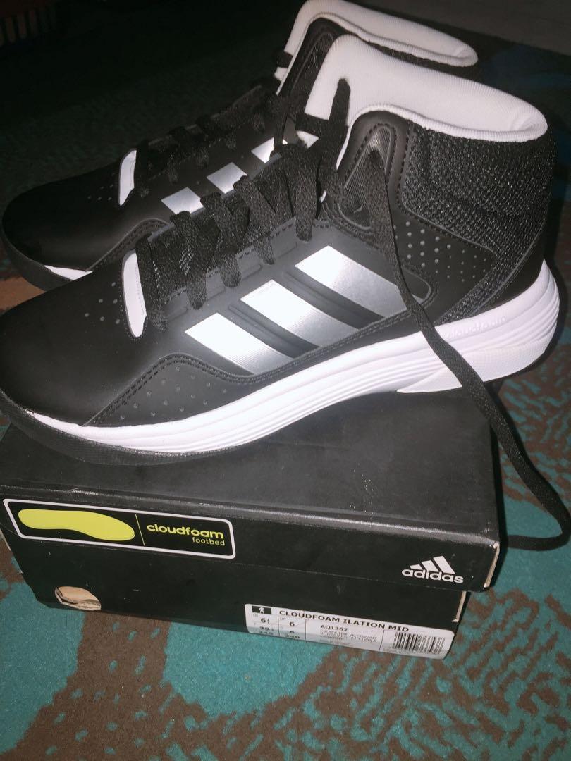 Adidas silver black basket men