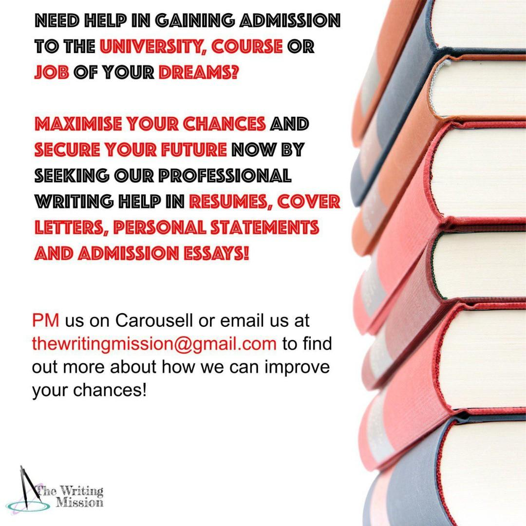Admission Portfolio Help (CVs, Resumes, Personal Statements, Cover Letters, Admission Essays)