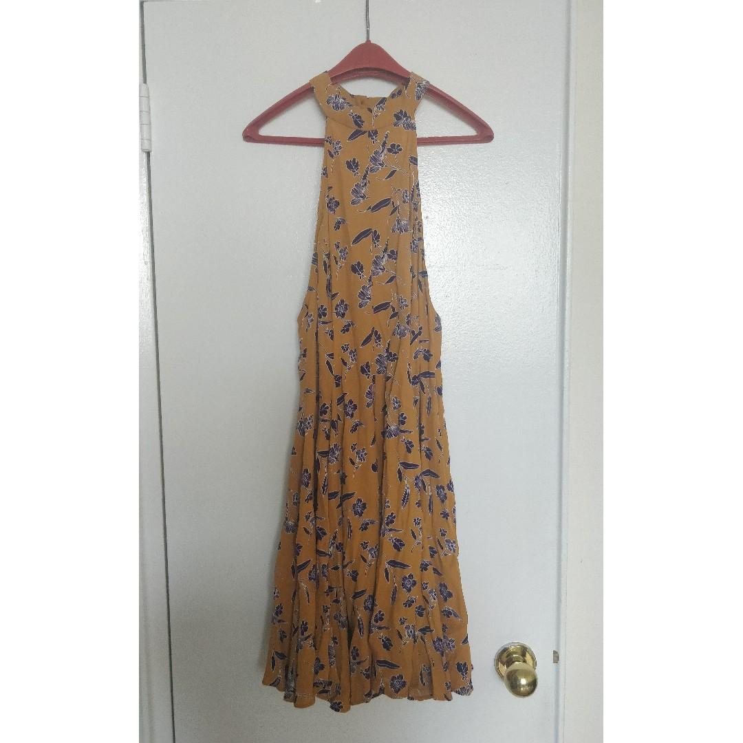 Backless Flower Print Dress from Urban Outfitters, Size M