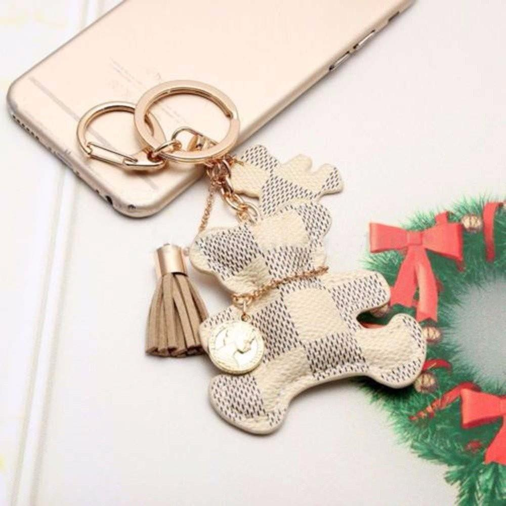 Beautiful Keychain Bear Tassel Charm PU Leather Key Chain Ring Car Purse Wallet Handbag Gift