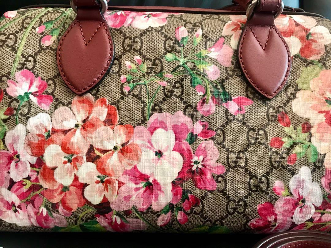 960452e2 Brand new Authentic Gucci Pink Linea A floral Boston Shoulder Bag ...