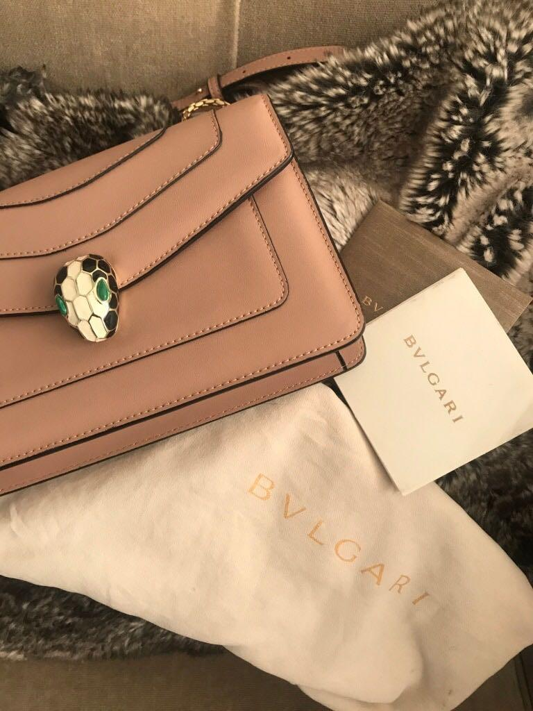 "BVLGARI ""Serpenti"" Beige Leather Small Gold/Fabric Strap Handbag"