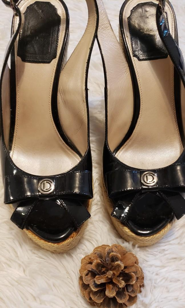 Christian Dior Black Patent Leather Espadrille Bow Wedge Sandals