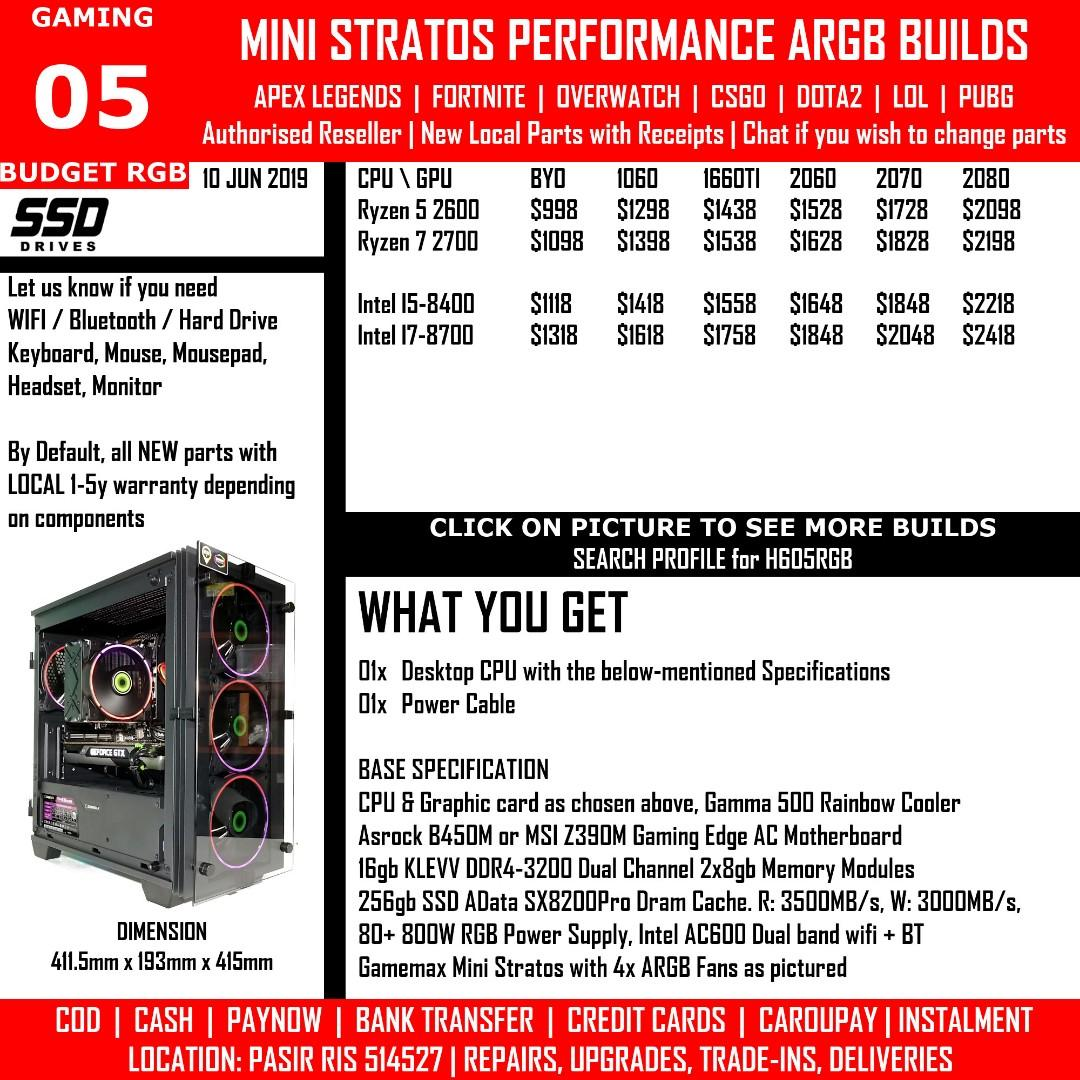 COMBO+ ESports PUBG FORTNITE RGB Gaming PC Intel I3 8100 I5
