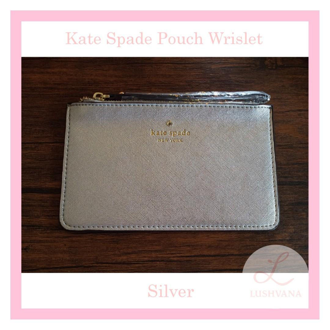 Kate Spade Pouch Wrislet Authentic Silver