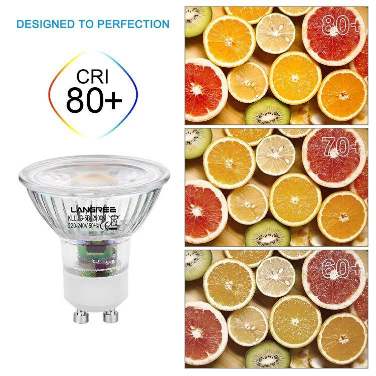 Recessed Lighting 38/° Beam Angle Equivalent to 50W LANGREE GU10 LED Spotlight Bulbs,5W 400lm Warm White Pack of 10