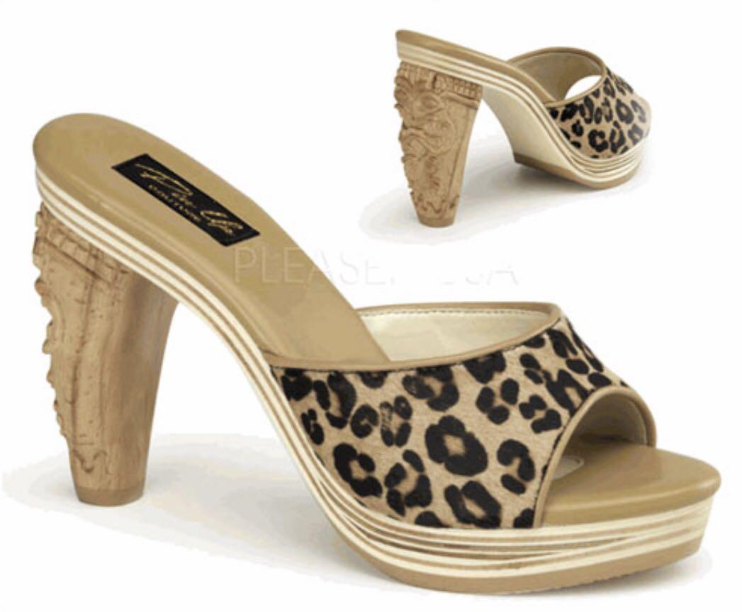 Pinup Couture Tiki Heels Mule Leopard Pony Hair NIB