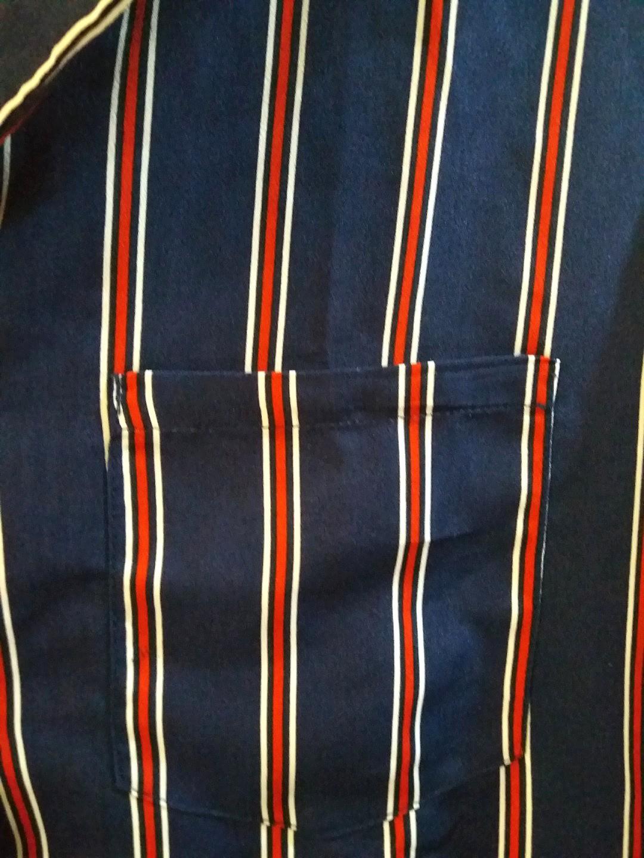 Zara look alike navy red stripe blouse