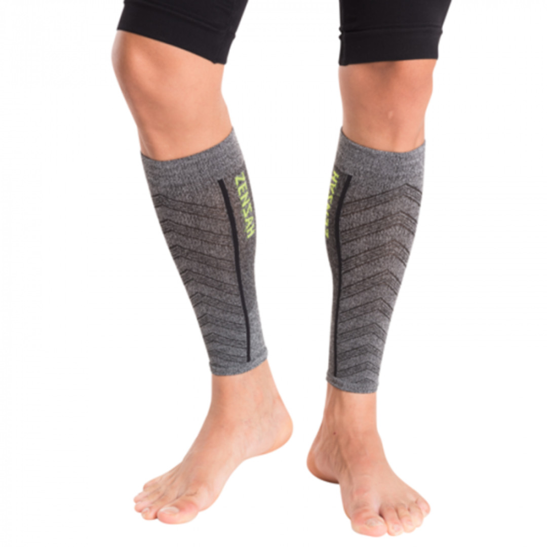 51c1711b895f0f ZENSAH Featherweight Compression Leg Sleeves - Grey Size M, Sports, Braces  & Supports on Carousell