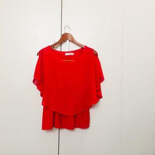 Red Cute Office Blouse Top