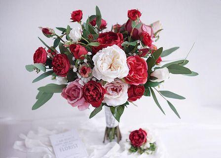 Lemongrass bouquet red & white