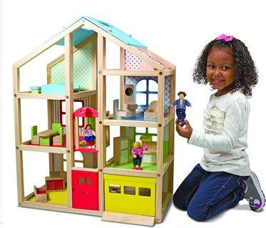Melissa & Doug Hi-Rise Wooden Dollhouse With 15 pcs Furniture - Garage and Working Elevator Doll House