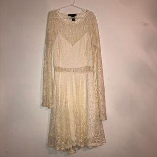 Cream Lace Flowy Dress