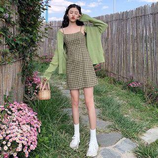 韓版牛油果綠色復古格子吊帶連衣裙 洋裝  連身裙
