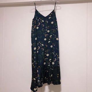 TEM Amael Ruffle-Hem Dress in Midnight Blue Floral