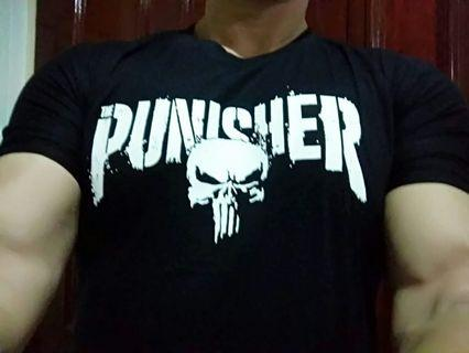 (Stock 24Aug-2pcs)Punisher skull stretchable spandex T shirt
