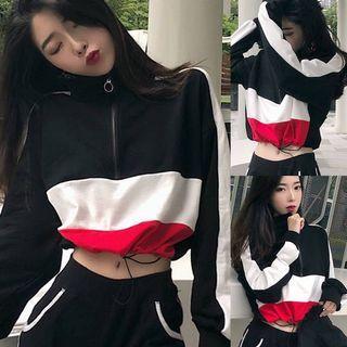 🚚 #292 (3 DESIGNS) ulzzang cropped colourblock half zip up pullover hoodie tricolour 3 tone brandy