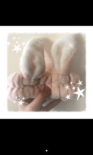 兔耳髮帶 居家 洗臉 兔子耳朵 粉紅色 可愛 髮飾