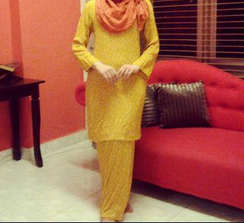 Mustard polka dot cotton baju kurung #junetogo #mgag101