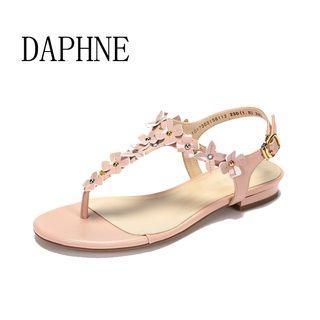 Daphne/達芙妮夏季新款夾趾平底女涼鞋時尚甜美花朵休閒涼鞋全新清倉 挑戰最低價任選3件免運費