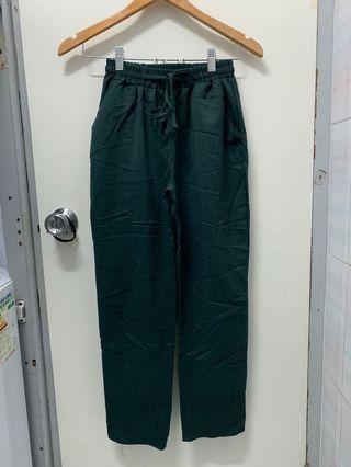 深綠色墨綠色 長褲 薄款 上班休閒 春夏可穿 Dark Green Pants