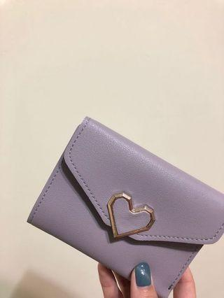 全新✨愛心紫灰色短夾