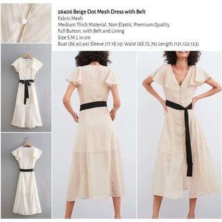 Beige Dot Mesh Dress with Belt (size S,M,L) -26406