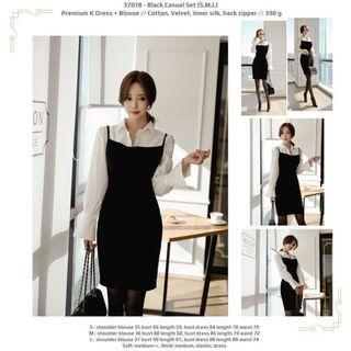 Black Casual Set (S,M,L) Premium K Dress + Blouse -37078