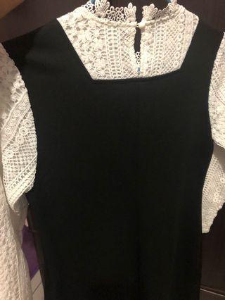 假兩件蕾絲黑洋裝