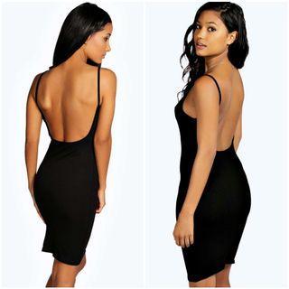 (Boohoo) Backless Bodycon Dress, Size 4
