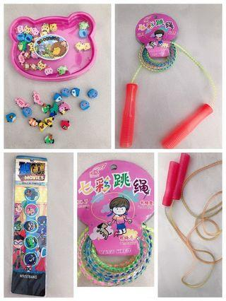 Rainbow colourful Rope string, angry birds erasers, wristband ,