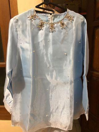 Baby blue Organza top ( atasan organza biru with beads )