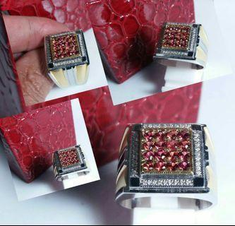 Red Garnet + Diamonds Couple