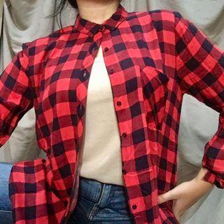 Pull&Bear Red Black Gingham Shirt/Kemeja