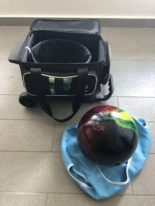 Imported bowling ball (Storm Optimus) with pulling case at a bargain!