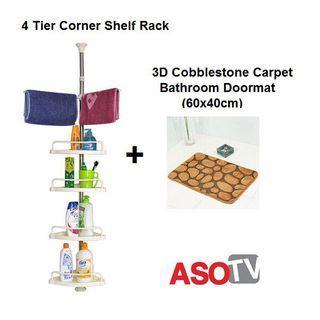 asotv 4 tier corner shelf rack + 3D cobblestone bathroom carpet 0004