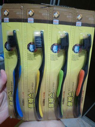(Set of 4's) - Korea Charcoal n Gold Toothbrush