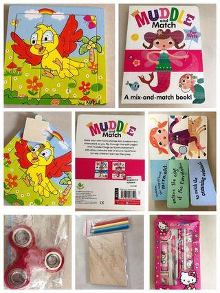 🚚 Wooden puzzle mix match book muddle, hello kitty stationary set, fidget spinner