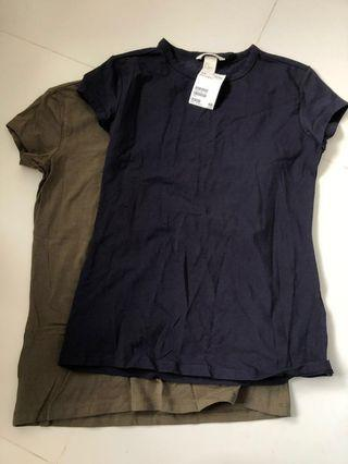 Navy Blue and Green Basic Top