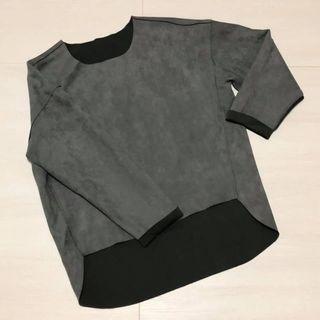 🚚 女裝長袖上衣假皮革拼接個性皮衣灰色造型剪裁韓系原宿