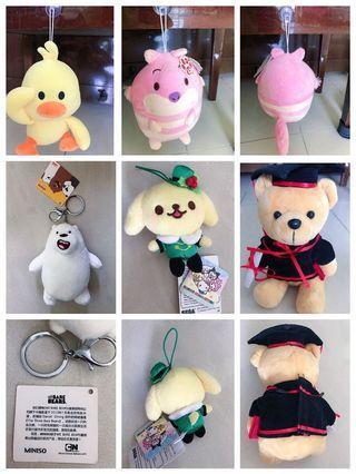 🚚 Ufufy japan soft toy Disney store, bare bears miniso, Sanrio, graduates bear