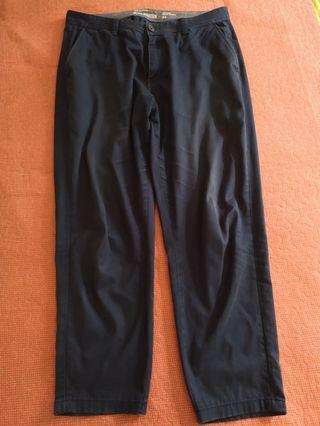 Navy Blue Long Cropped Pants