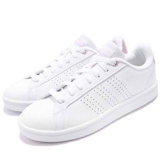 ADIDAS CF Advantage CL 麂皮復古小白鞋 粉紫 全新 23號