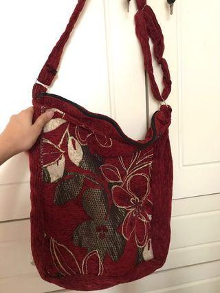 Red Corduroy Shoulder Bag