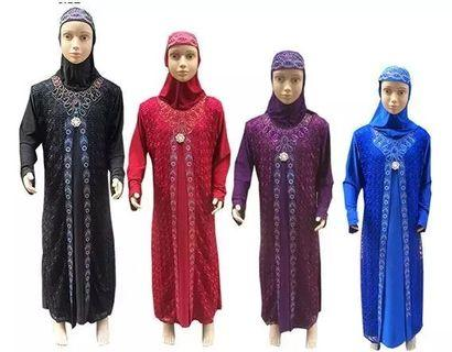 2Pcs Muslim Maxi Dresses For Girls Clothes Costume Kids islamic Clothing Muslim Arab Middle East Robe 1 Dress+1 Hijab